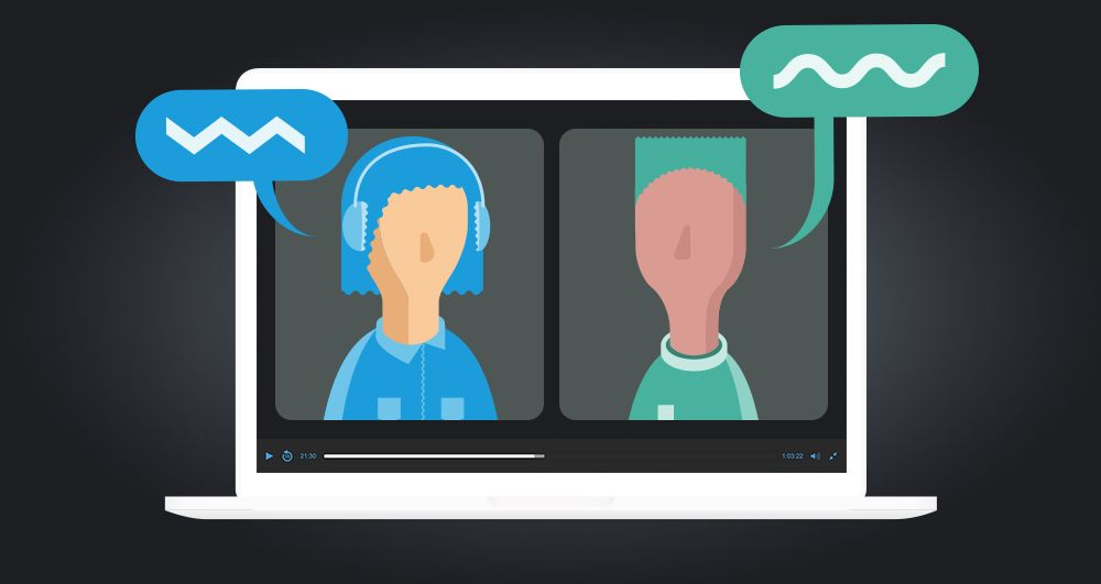 Illustration of laptop with two people video chatting on screen