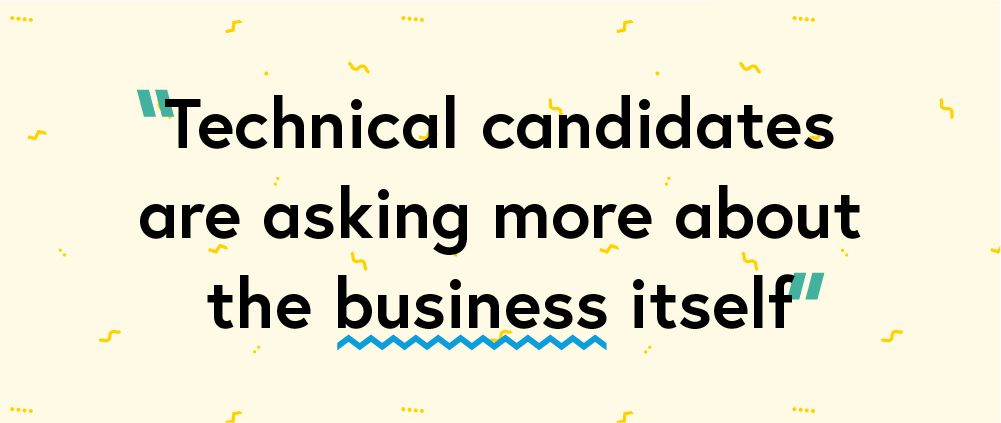 "Quote ""Technical candidates are asking more about the business itself"""